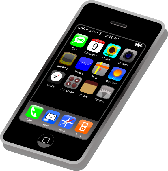 582x594 Iphone Cell Phone Clipart