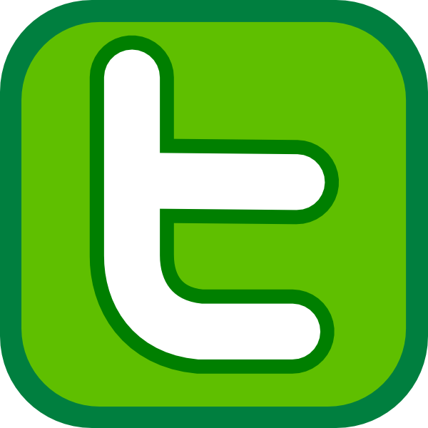 600x600 Twitter Icon Green Clip Art