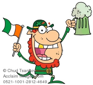 300x275 Illustration Of Leprechaun Holding The Irish Flag And A Pint Of Beer