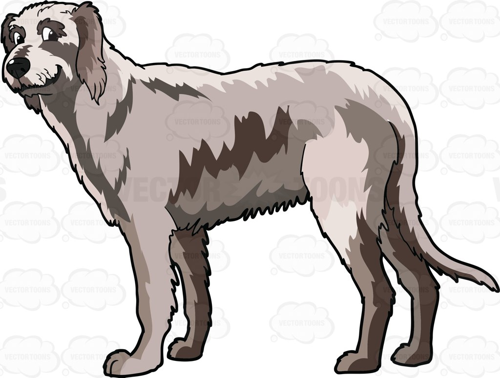 1024x775 A Smiling Irish Wolfhound Cartoon Clipart