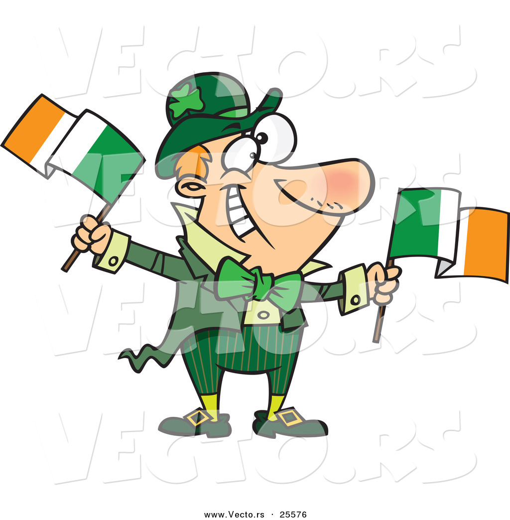 1024x1044 Vector Of A Happy Cartoon Leprechaun Man Waving Two Irish Flags By