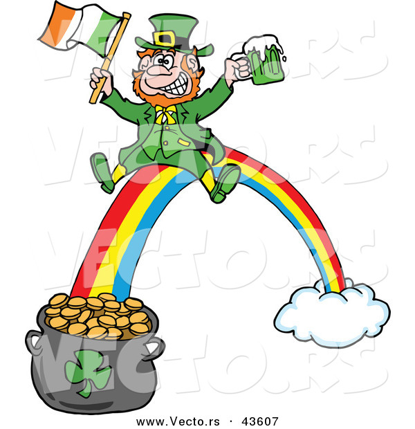 600x620 Vector Of Happy Cartoon Leprechaun Riding Rainbow Down