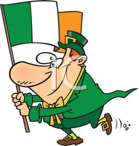 286x300 Of A Leprechaun Holding The Flag Of Ireland