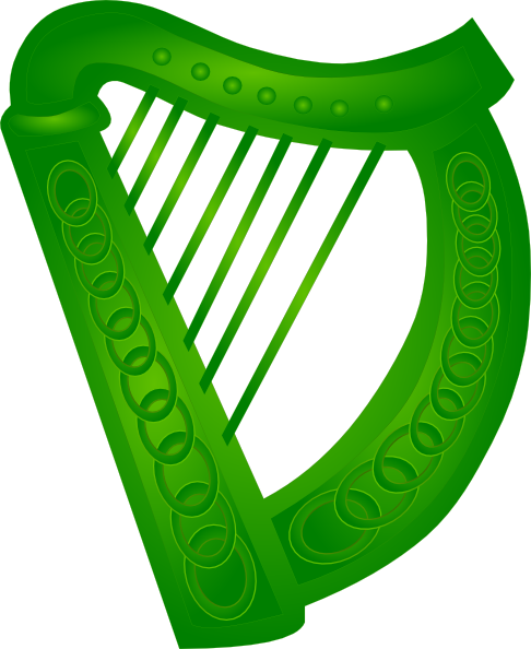 486x594 Irish Harp Green Clip Art