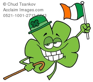 300x262 Clipart Illustration Of A Grinning Four Leaf Clover Holding