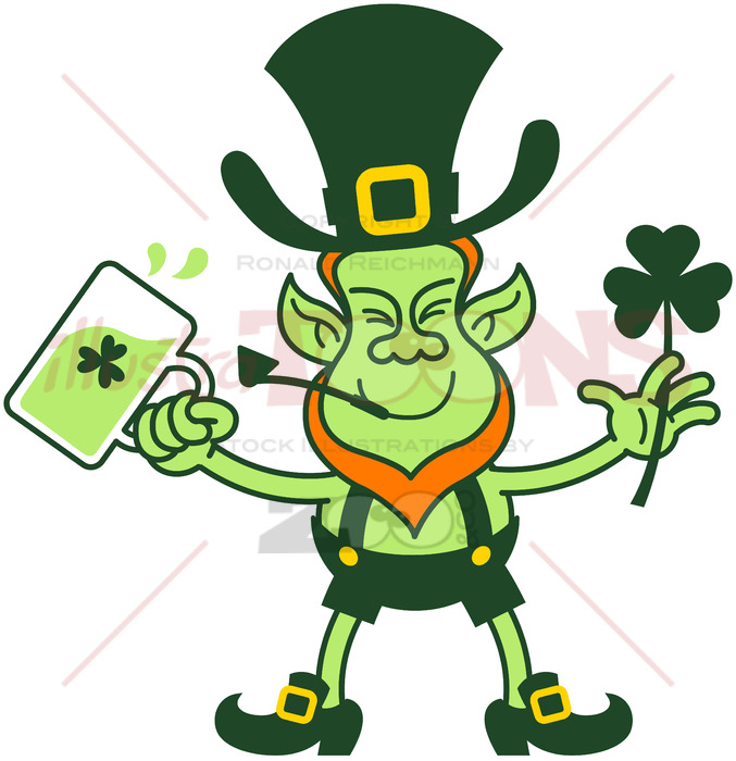 677x700 Leprechaun Celebrating With Beer And A Shamrock Clover
