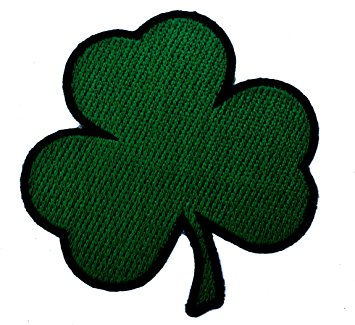 355x325 Shamrock Irish Lucky 3 Leaf Clover Iron On Patch D2