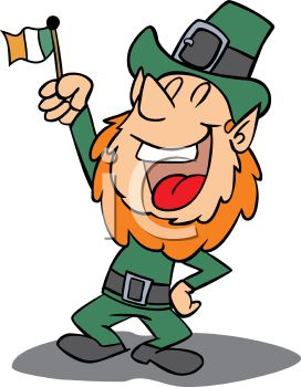272x350 A Leprechaun Holding An Irish Flag With One Hand On His Hip