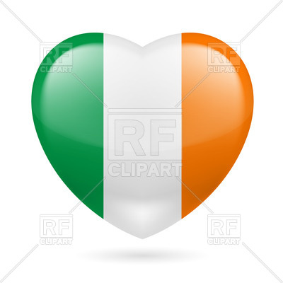 400x400 Heart With Irish Flag Colors. I Love Ireland Royalty Free Vector