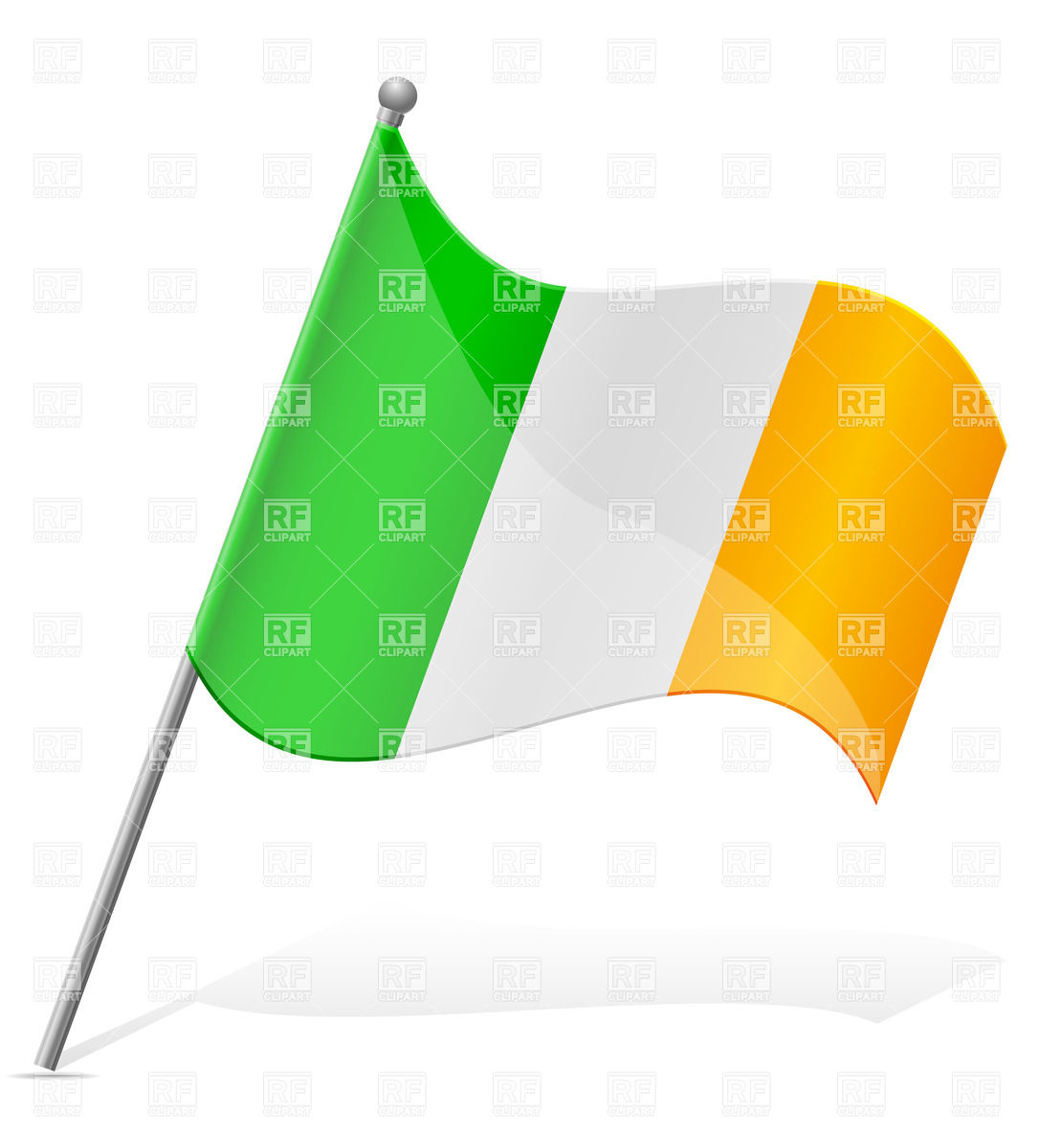 1086x1200 Icon Of Wavy Flag Of Ireland Isolated On White Background Royalty