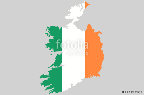 500x330 Vector Ireland Topographic Map. Ireland Flag On Borders