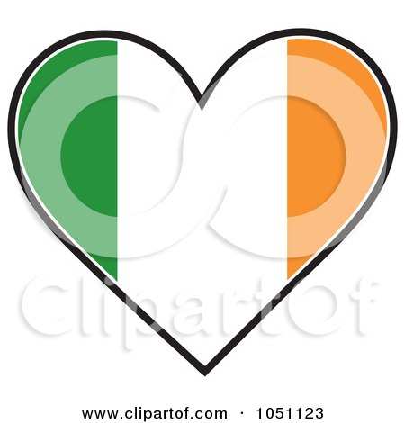 450x470 Clipart Irish Flag With A Red Heart In The Center