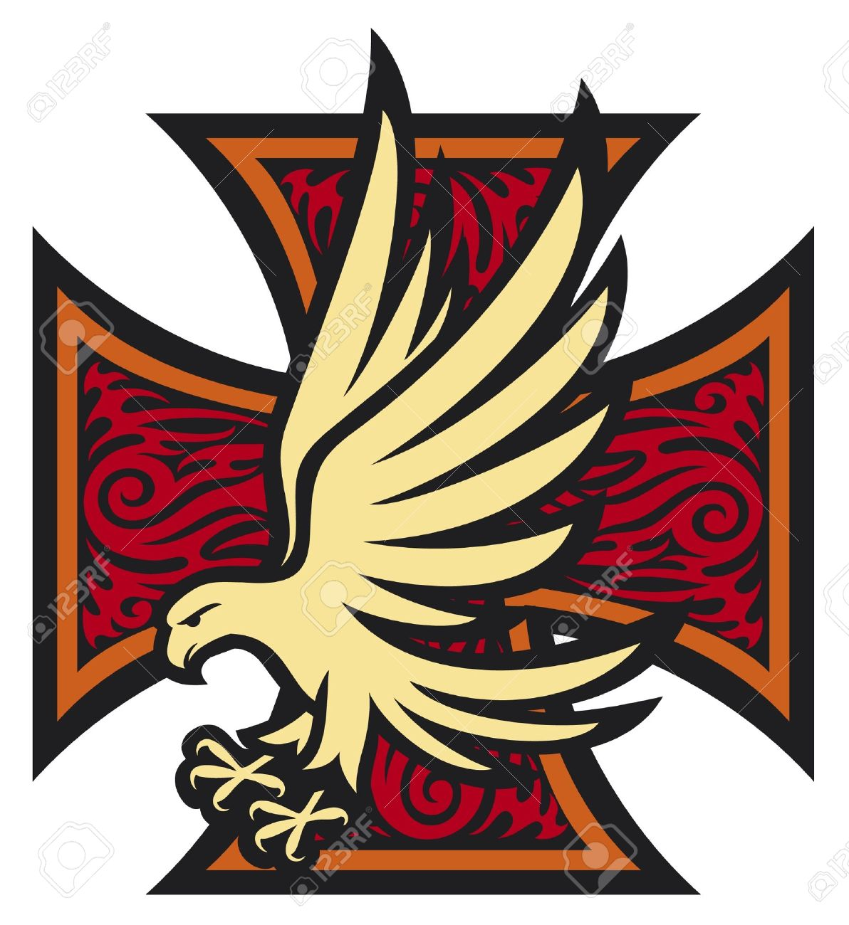 1192x1300 Iron Cross In Tattoo Style Eagle Tribal Style, Cross