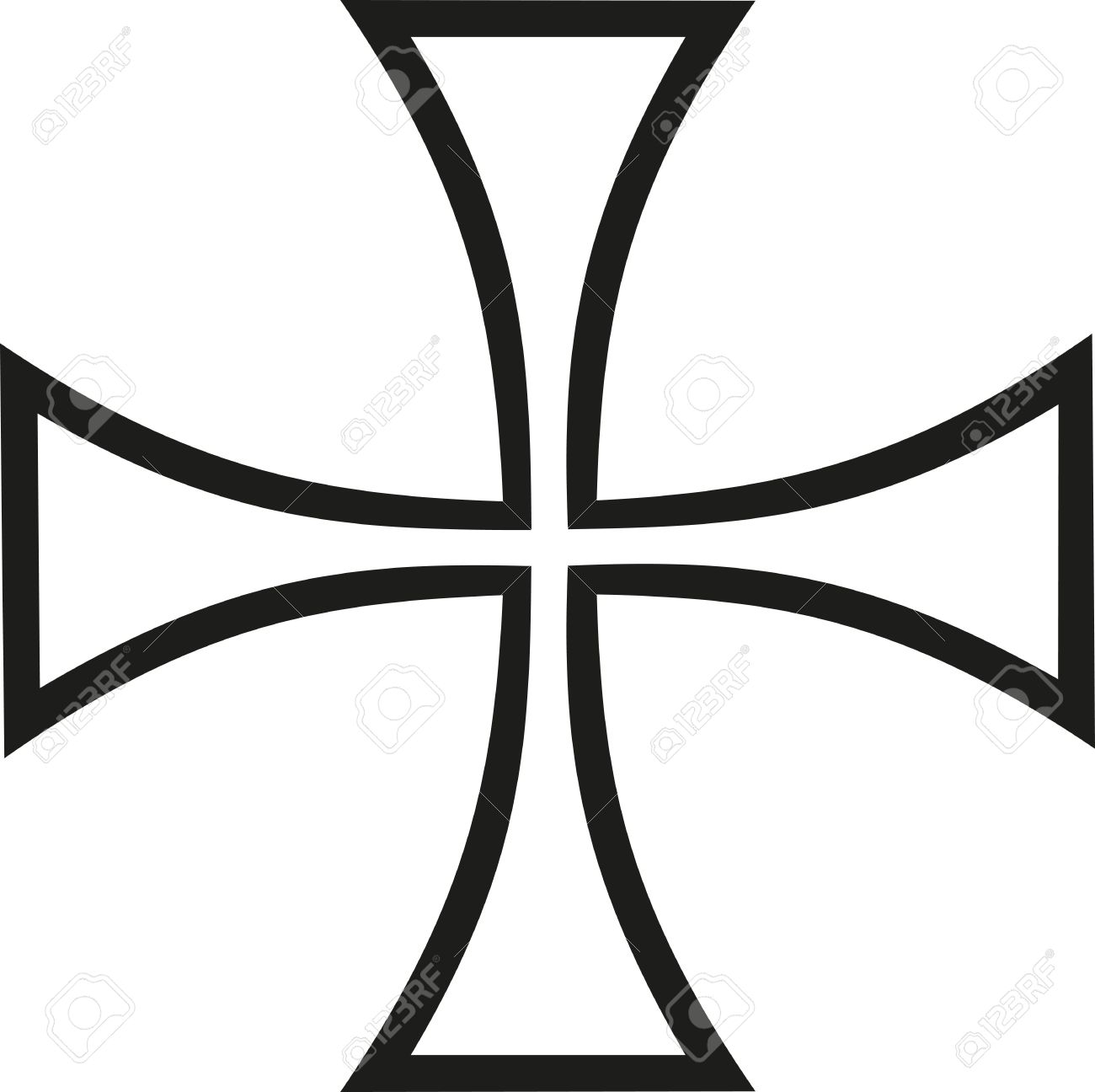 1300x1296 Thin Iron Cross Outline Royalty Free Cliparts, Vectors, And Stock