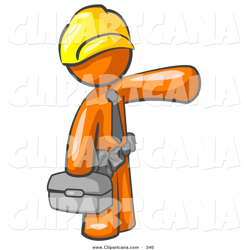 1024x1044 Vector Clip Art Of A Busy Orange Man, A Construction Worker