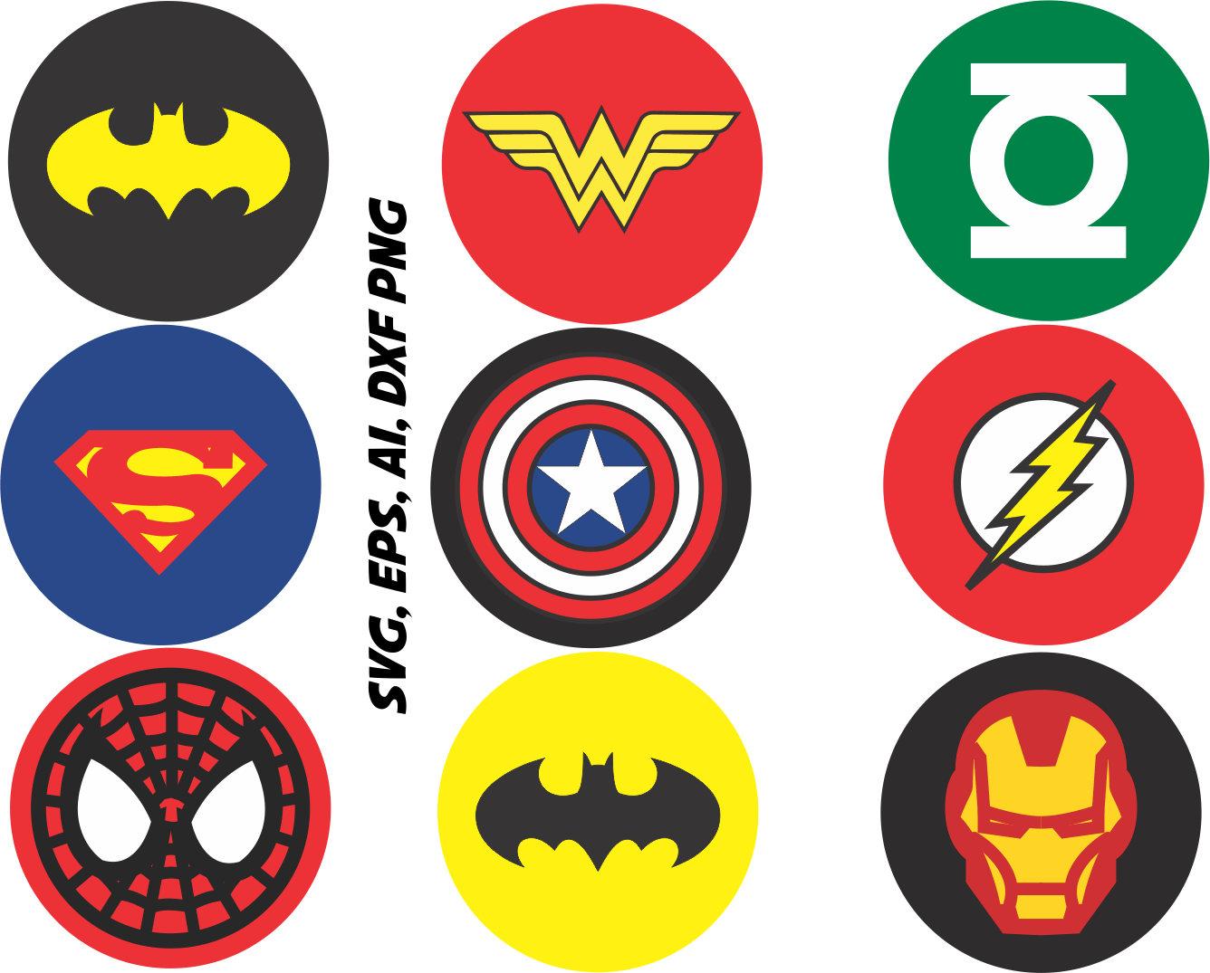 1336x1075 Superhero logos SVG Captain america ironman batman etc in
