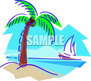 300x266 Art Image A Sailboat Sailing By An Island