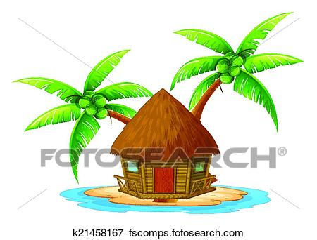 450x342 Clip Art Of An Island With A Nipa Hut K21458167
