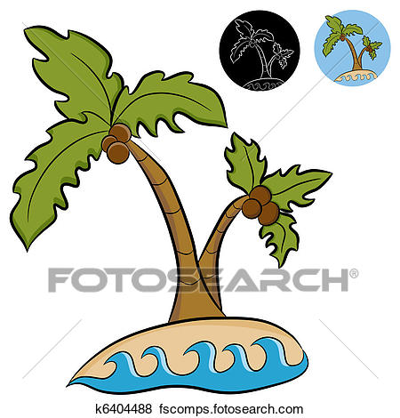 450x470 Clip Art Of Deserted Island Palm Trees K6404488