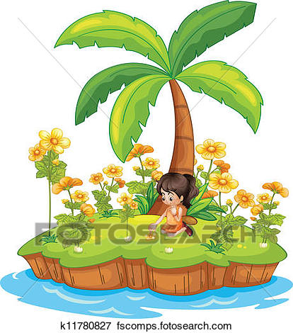 414x470 Clip Art Of Girl On An Island K11780827