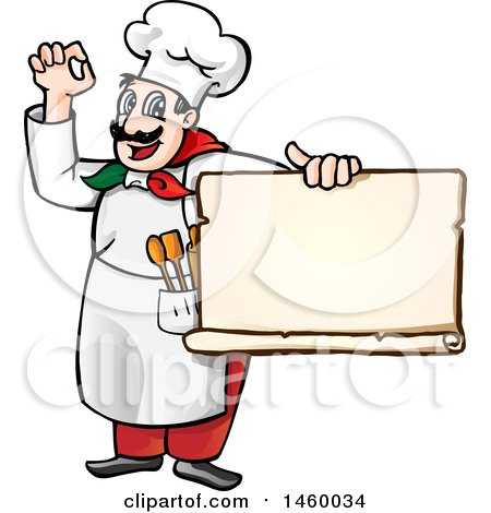 450x470 Clipart Of A Cartoon Italian Chef Holding A Pizza Sign