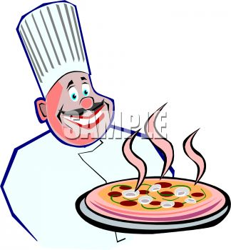 324x350 Royalty Free Clip Art Image Round Faced Italian Chef Holding A Pizza