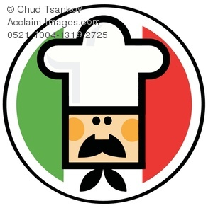 300x294 An Italian Chef In Front Of The Flag Of Italy Clipart Image