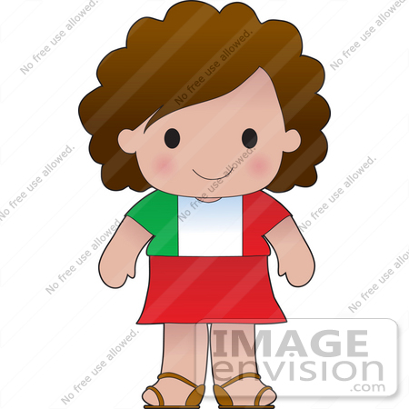450x450 Clip Art Graphic Of A Brunette Haired Poppy Character Of Italy