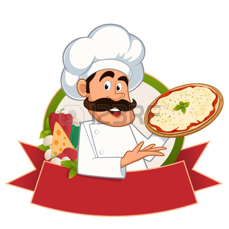 450x450 Italian Chef With A Pizza In Hand, Vector Royalty Free Cliparts