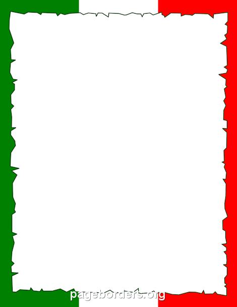 470x608 Italian Flag Border Classroom Scrap Book Background
