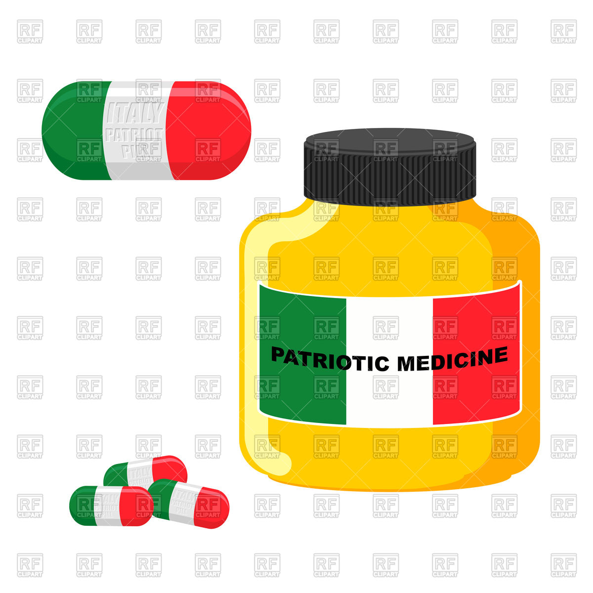 1200x1200 Patriotic Medicine Italy. Pills With Italian Flag. Royalty Free