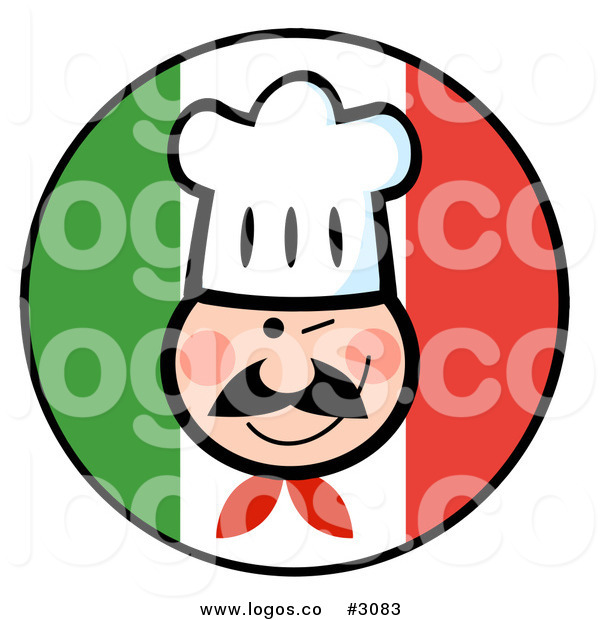 600x620 Royalty Free Vector Of A Winking Chef Face Over An Italian Flag