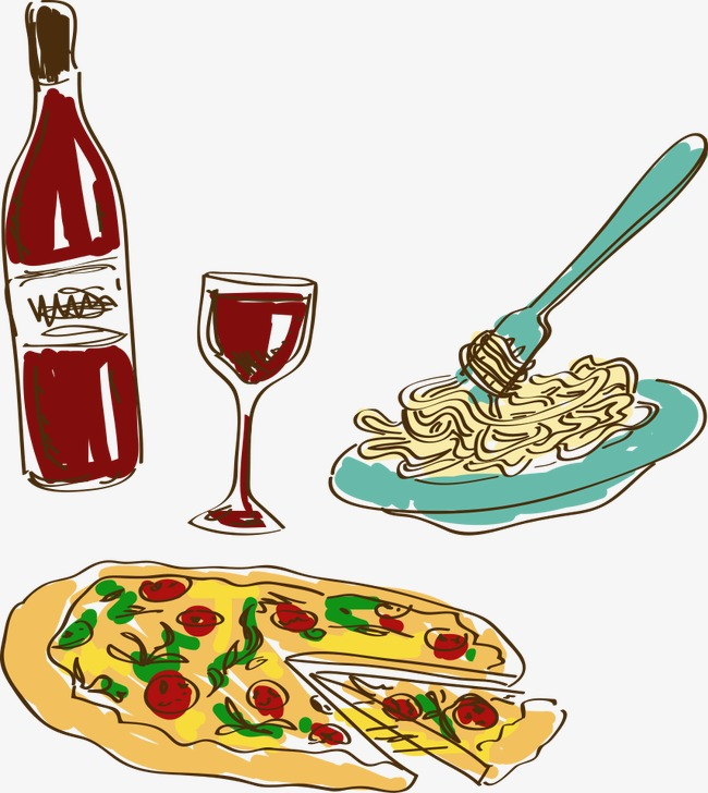 650x728 Hand Painted Cartoon Italian Food, Diet, Food, Spaghetti Png Image