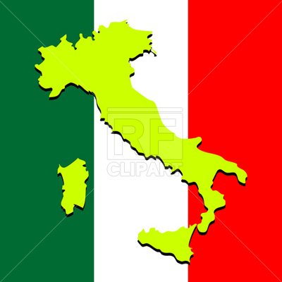 400x400 Italy Map Over National Colors Royalty Free Vector Clip Art Image