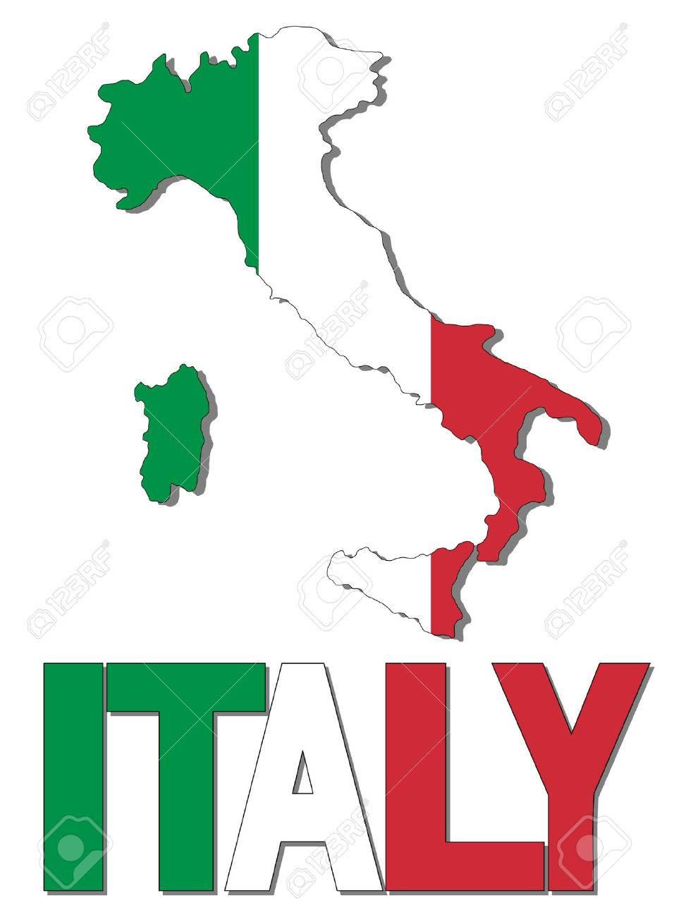990x1300 Italy Map Flag And Text Vector Illustration Royalty Free Cliparts