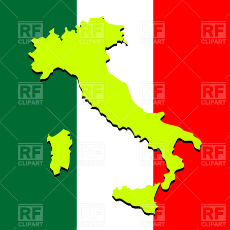 453x453 Italy map over national colors Royalty Free Vector Clip Art Image