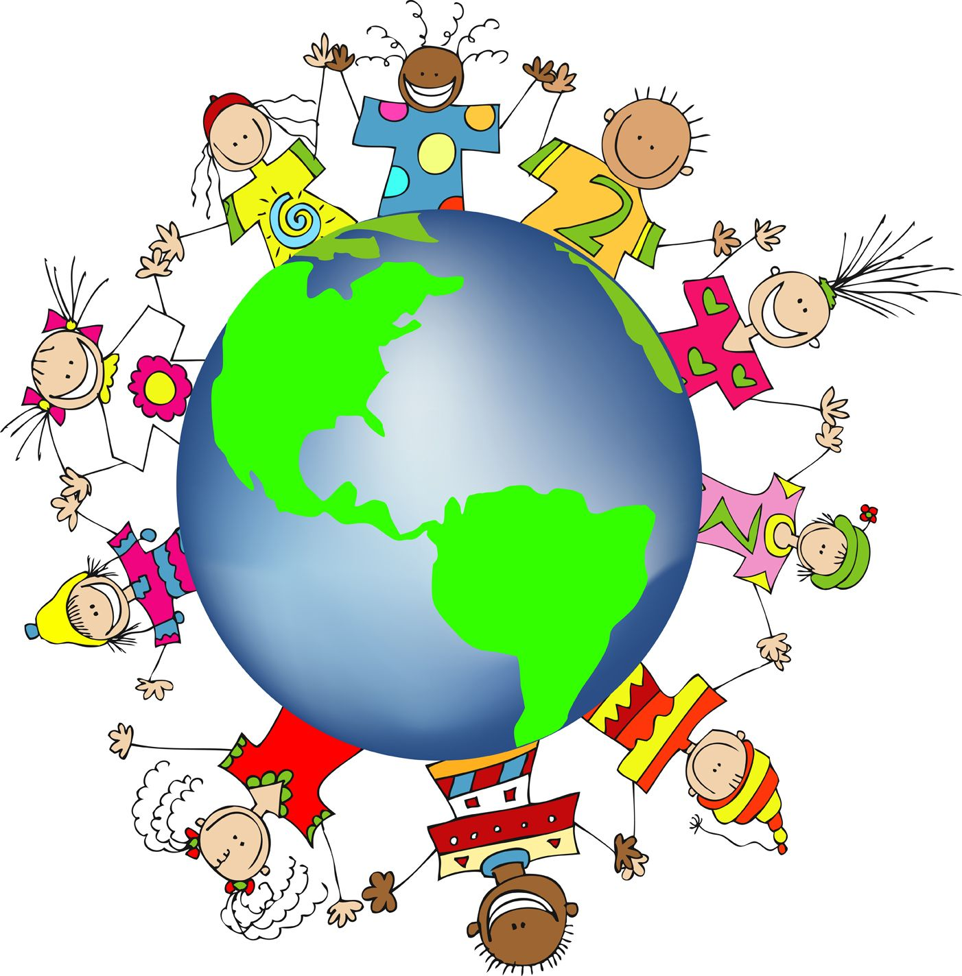 1402x1423 Kids World Hands Friends Networks Globe Illustration Small Free