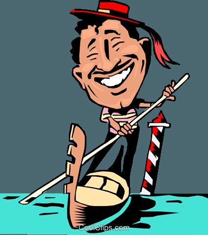 426x480 Cartoon Venice gondolier Royalty Free Vector Clip Art illustration