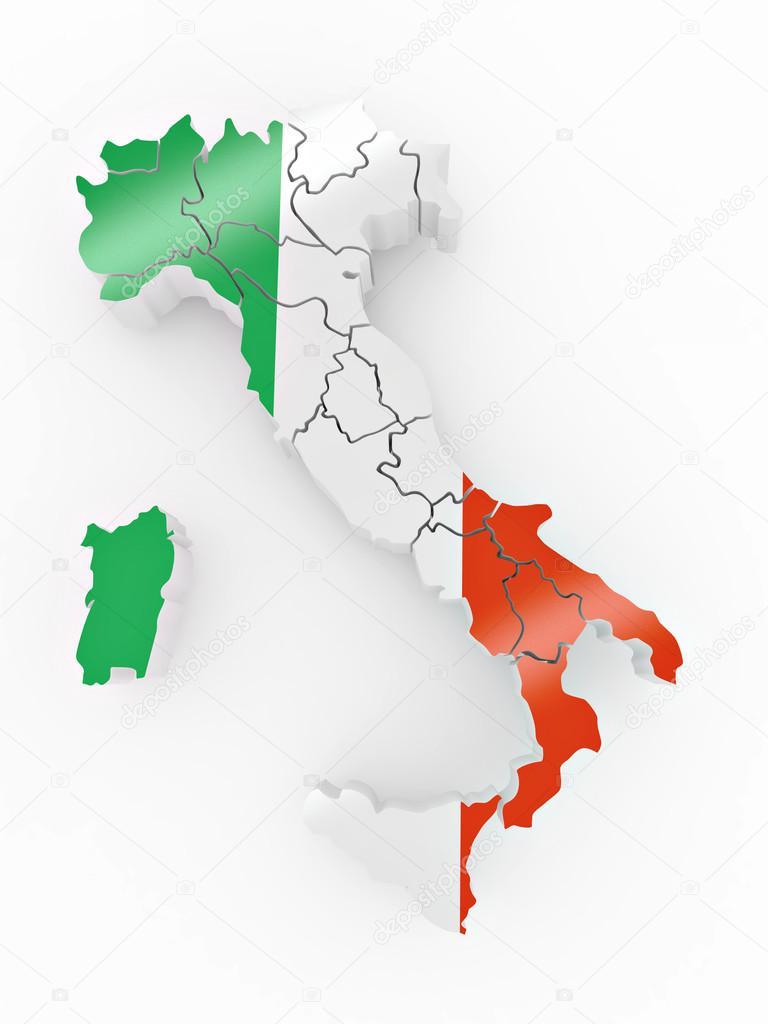 768x1024 Map Of Italy In Italian Flag Colors Stock Photo Maxxyustas