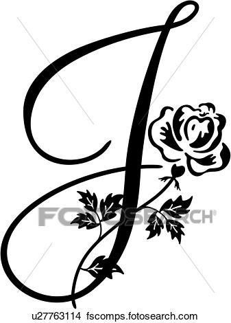337x470 Clipart Of , Alphabet, Capital, J, Lettered, Monogram, Script