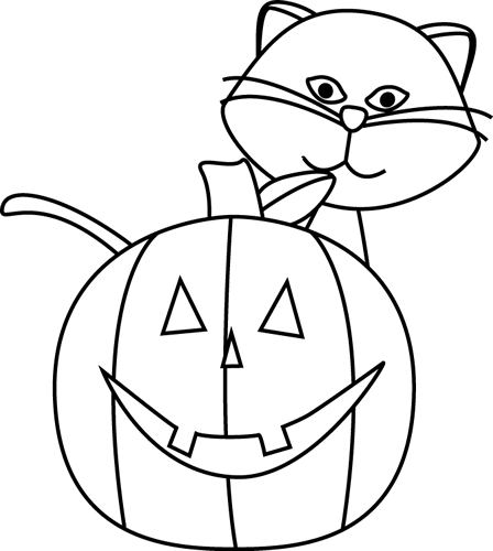 448x500 Black And White Cat And Jack O Lantern Clip Art