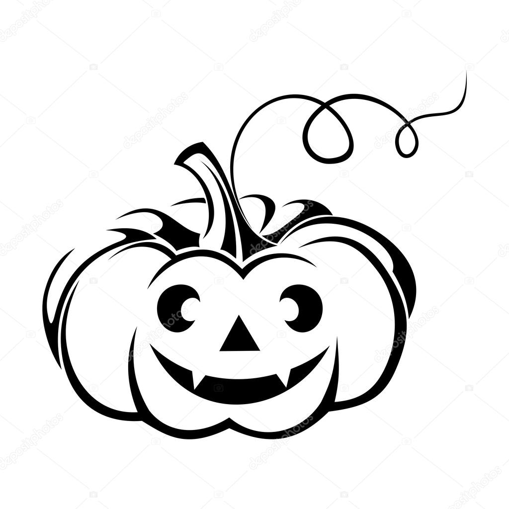 1024x1024 Black Silhouette Of Jack O Lantern (Halloween Pumpkin). Vector
