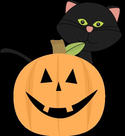 426x461 Black Cat Behind Jack O Lantern Clip Art