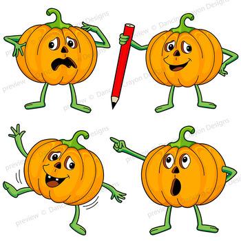 350x350 Pumpkin Clip Art Pumpkin Character Jack O Lantern Clipart Tpt