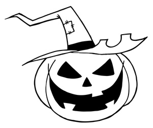 300x251 Halloween Coloring Page Clipart Image
