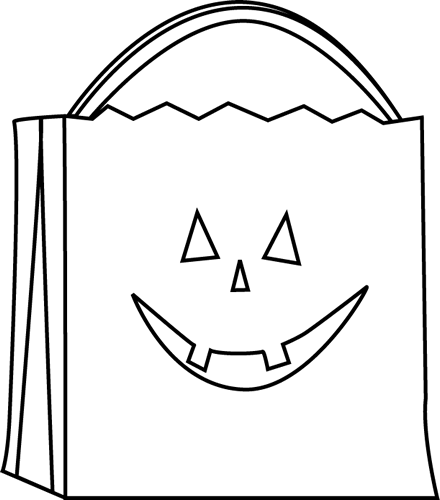 440x500 Black And White Trick Or Treat Bag Clip Art