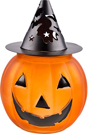 317x450 Halloween Large Glass Amp Metal Jack O' Lantern Pumpkin
