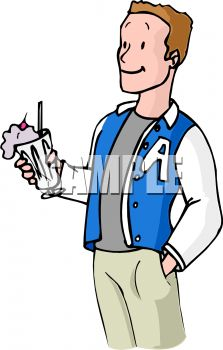 223x350 Boy Wearing A Letterman's Jacket, Holding A Milkshake