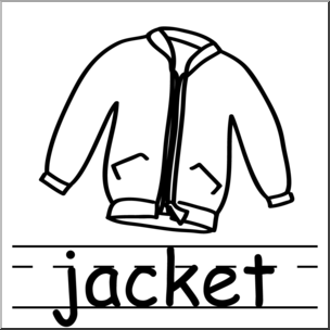 304x304 Clip Art Basic Words Jacket Bampw Labeled I Abcteach