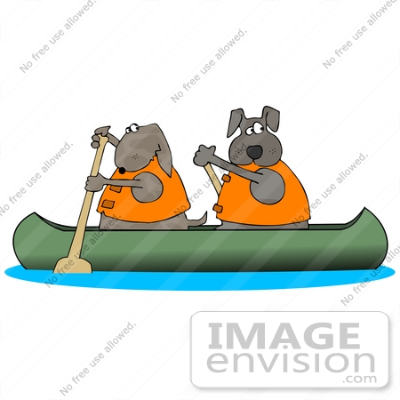 450x450 Cliprt Graphic Of Two Brown Dogs In Life Jackets, Paddling